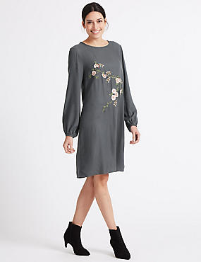 Embroidered Balloon Sleeve Tunic Dress