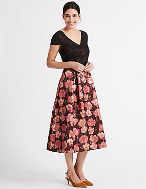 Floral Jacquard Short Sleeve Prom Midi Dress