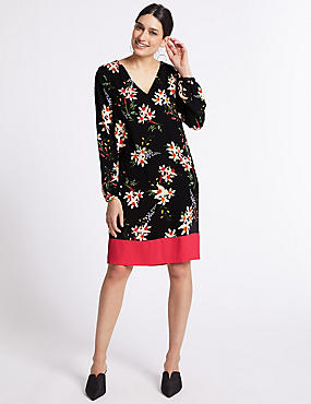 Floral Print Contrast Hem Tunic Dress