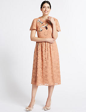 Bird Embroidered Lace Shift Midi Dress