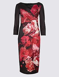Floral Print Scuba Bodycon Midi Dress