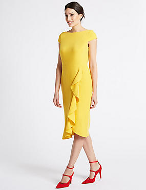 Ruffle Asymmetric Short Sleeve Bodycon Dress, SAFFRON, catlanding