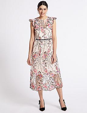 Multi Mesh Embroidered Tea Midi Dress, MULTI, catlanding
