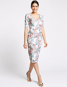 Floral Print Half Sleeve Bodycon Midi Dress , IVORY MIX, catlanding