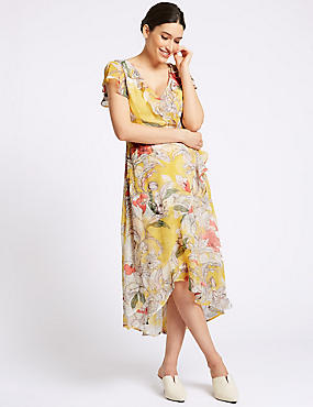 Floral Print Short Sleeve Midi Dress , IVORY MIX, catlanding