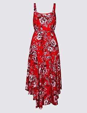 Floral Print Asymmetric Swing Midi Dress, RED MIX, catlanding