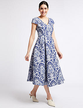 Floral Print Jacquard Prom Dress, BLUE MIX, catlanding
