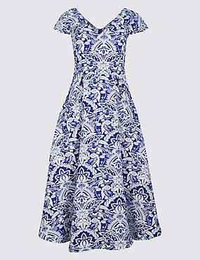 Jacquard Floral Print Skater Midi Dress, BLUE MIX, catlanding