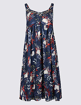 Floral Print Swing Dress, NAVY MIX, catlanding