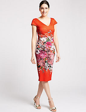 Floral Print Short Sleeve Bodycon Midi Dress, ORANGE MIX, catlanding