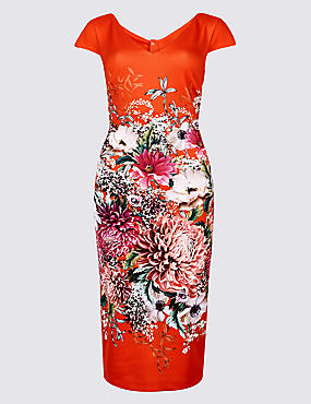 Floral Print Short Sleeve Bodycon Midi Dress