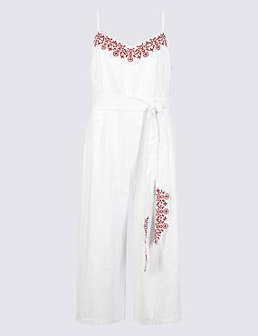 Pure Cotton Embroidered Culotte Jumpsuit, IVORY MIX, catlanding