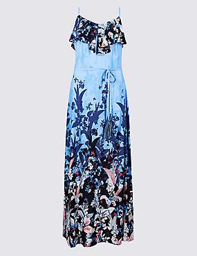 Floral Print Ruffle Maxi Dress  , BLUE MIX, catlanding