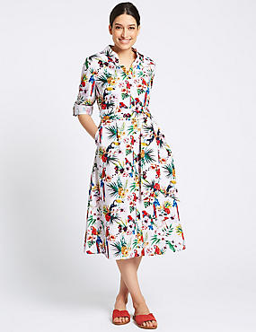 Pure Cotton Printed Shirt Midi Dress , IVORY MIX, catlanding