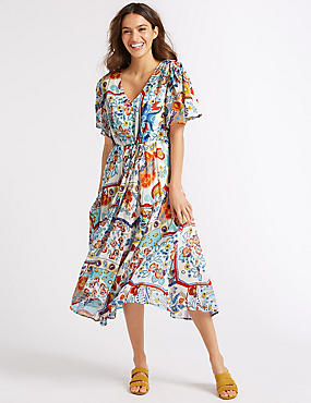 Floral Print Half Sleeve Tea Midi Dress , MULTI, catlanding
