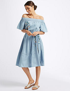 Cotton Rich Embroidered Bardot Midi Dress , CHAMBRAY, catlanding