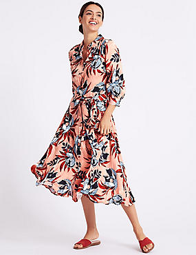 Textured Floral 3/4 Sleeve Shirt Midi Dress, ORANGE MIX, catlanding