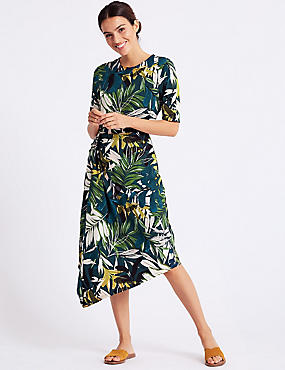 Printed Half Sleeve Asymmetric Midi Dress, TEAL MIX, catlanding