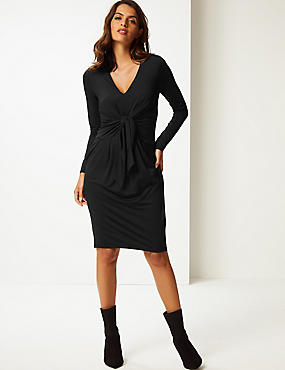 Long Sleeve Bodycon Dress, BLACK, catlanding