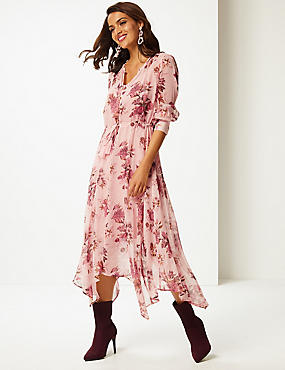 Floral Print Long Sleeve Tea Midi Dress , LIGHT PINK MIX, catlanding