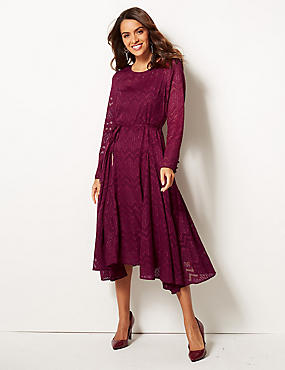 Textured Long Sleeve Tea Midi Dress , BERRY, catlanding