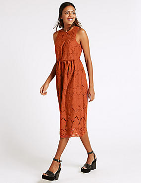 Pure Cotton Broderie Shift Dress