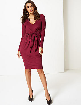 Knot Front Long Sleeve Bodycon Midi Dress, BERRY, catlanding