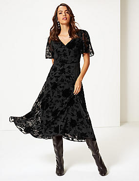 Sparkly Short Sleeve Skater Midi Dress, BLACK, catlanding