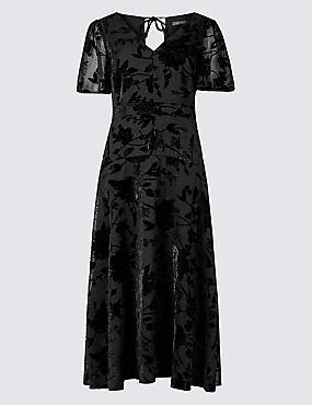 Sparkly Short Sleeve Skater Midi Dress, BLACK, catlanding