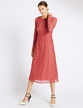 Lace Lined Long Sleeve Shift Dress