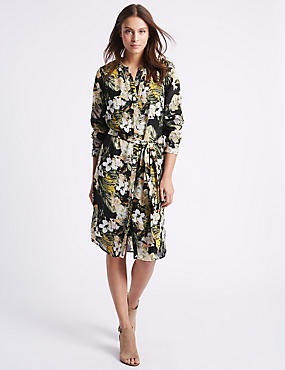 Floral Print Studded Shirt Dress with Belt