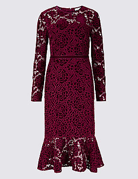 Lace Long Sleeve Bodycon Midi Dress , BURGUNDY, catlanding