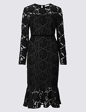 Lace Long Sleeve Bodycon Midi Dress , BLACK, catlanding