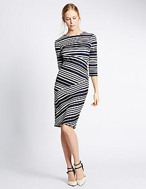 Striped 3/4 Sleeve Bodycon Dress