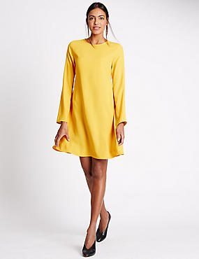 Woven Long Sleeve Swing Dress
