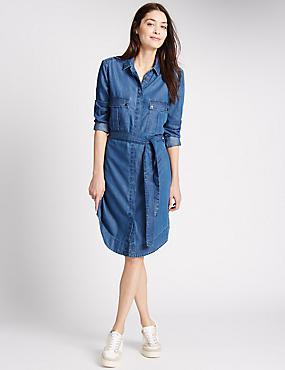 PETITE Denim Shirt Dress with Belt