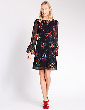 Frill Floral Print Fit & Flare Dress