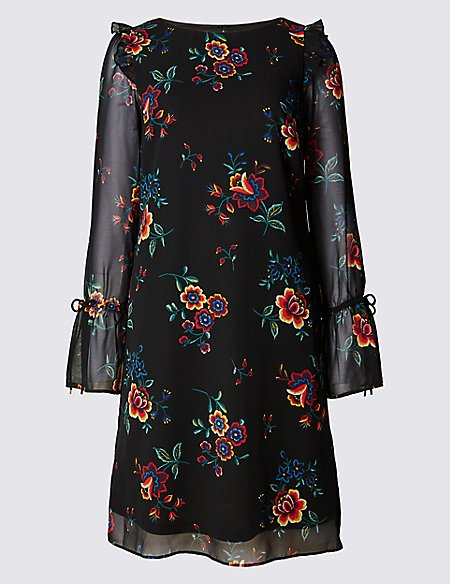 Floral Print Long Sleeve Fit & Flare Dress