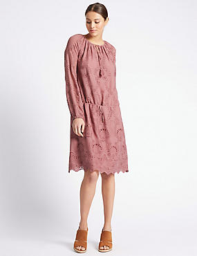 Scallop Trim Tie Detail Shift Dress