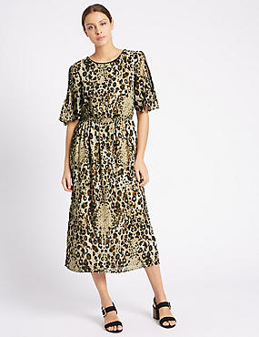 Animal Print Cold Shoulder Shift Dress