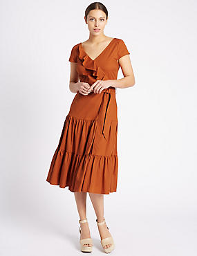 Cotton Rich Ruffle Midi Dress with Belt