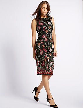 Cotton Blend Embroidered Bodycon Dress