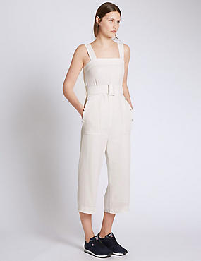 Sleeveless Jumpsuit with Belt