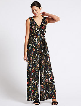 Floral Print Flared Jumpsuit with Belt