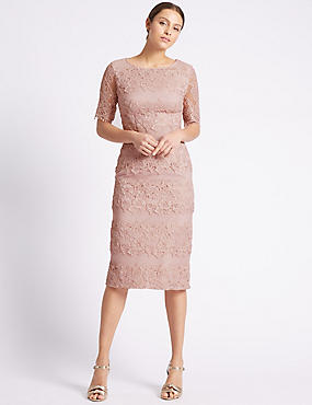 Cotton Rich Floral Lace Shift Dress