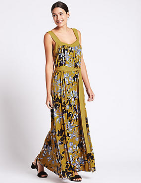 Floral Print Flared Side Split Maxi Dress
