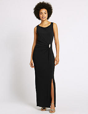 Jewelled Drape Waist Tie Back Midi Dress