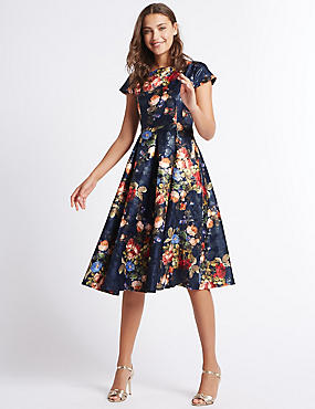 Rose Jacquard Print Skater Midi Dress