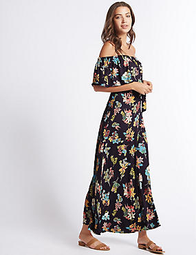 Floral Print Bardot Maxi Dress
