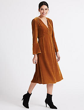 Velvet Long Sleeve Tea Midi Dress